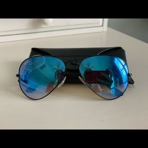 RayBan black aviators with blue tinted lenses